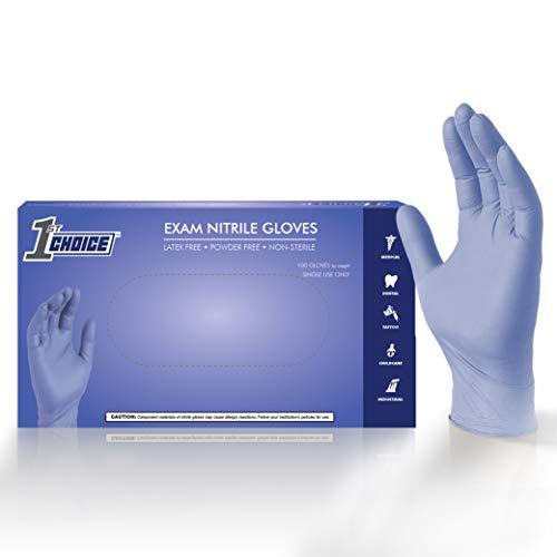 1st Choice Value Series Indigo Exam Nitrile Gloves - Latex Free, Powder Free, Non-Sterile, 1VSEINSBX, Small, Box of 100