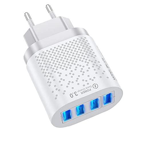 FeelMeet USB Plug rápido del Cargador del teléfono Cargador de teléfono móvil Quik Carga 3A con 4 Puertos para el teléfono iPad Blanca