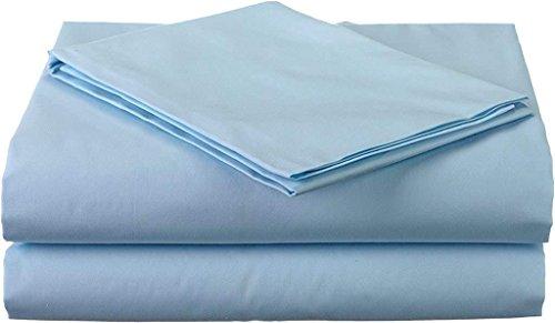 "Lusso Mercato 4 PC Bedding Sheet Set Real 800 TC 100% Egyptian Cotton Super Soft Long Staple, Italian Finish Fitted Sheet fits Upto 19"" deep Pocket Mattress Full, Light Blue Solid"