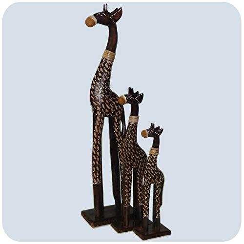 Simandra Holz Figur Skulptur afrikanische Holzfigur Afrika Deko Giraffe braun XXL Größe Groß