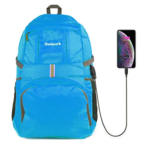 Outdoork Lightweight Backpack for Hiking & Travel - Ultralight Packable Outdoor Traveling Daypack for Men & Women - Small Foldable School Laptop Back Pack with USB Charging Port (Sky Blue)