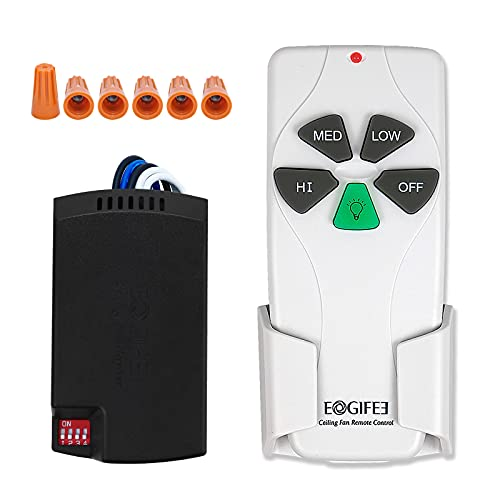 Eogifee Small Size Universal Ceiling Fan Remote Control and Receiver 53T KUJCE9103 Kits with 3 Speed and Light Control Replacement of Hampton Bay Harbor Breeze Hunter