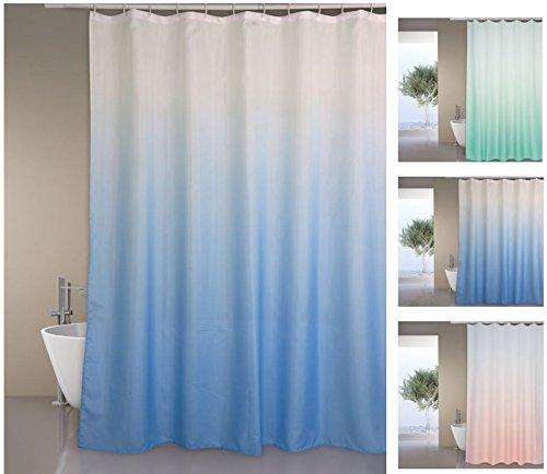 """MSV Premium Anti-Schimmel Textil Duschvorhang - Anti-Bakteriell, waschbar, 100prozent wasserdicht, mit 12 Duschvorhangringen - Polyester, """"Sugar"""" Blau 180x200cm"""