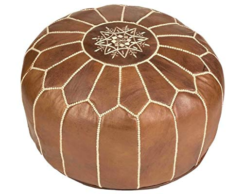 Puf Marroquí Marrón cognac de cuero auténtico - Hecho a mano - Entregado con relleno - Otomano, cojin de suelo