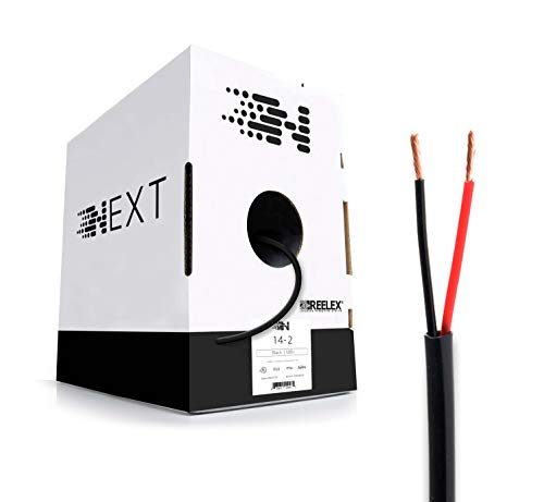 Next 14/2 Speaker Wire - 14 AWG/Gauge 2 Conductor - UL Listed in Wall (CL2/CL3) and Outdoor/In Ground (Direct Burial) Rated - Oxygen-Free Copper (OFC) - 500 Foot Bulk Cable Pull Box - Black