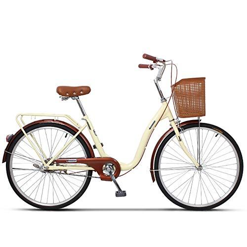 Bicicletas para Damas, Bicicletas de una Velocidad con cestas Bicicletas Scooter Ligeras Bicicletas para Estudiantes Adultos Masculinos y Femeninos Bicicletas para viajeros urbanos asientosbeige 24''