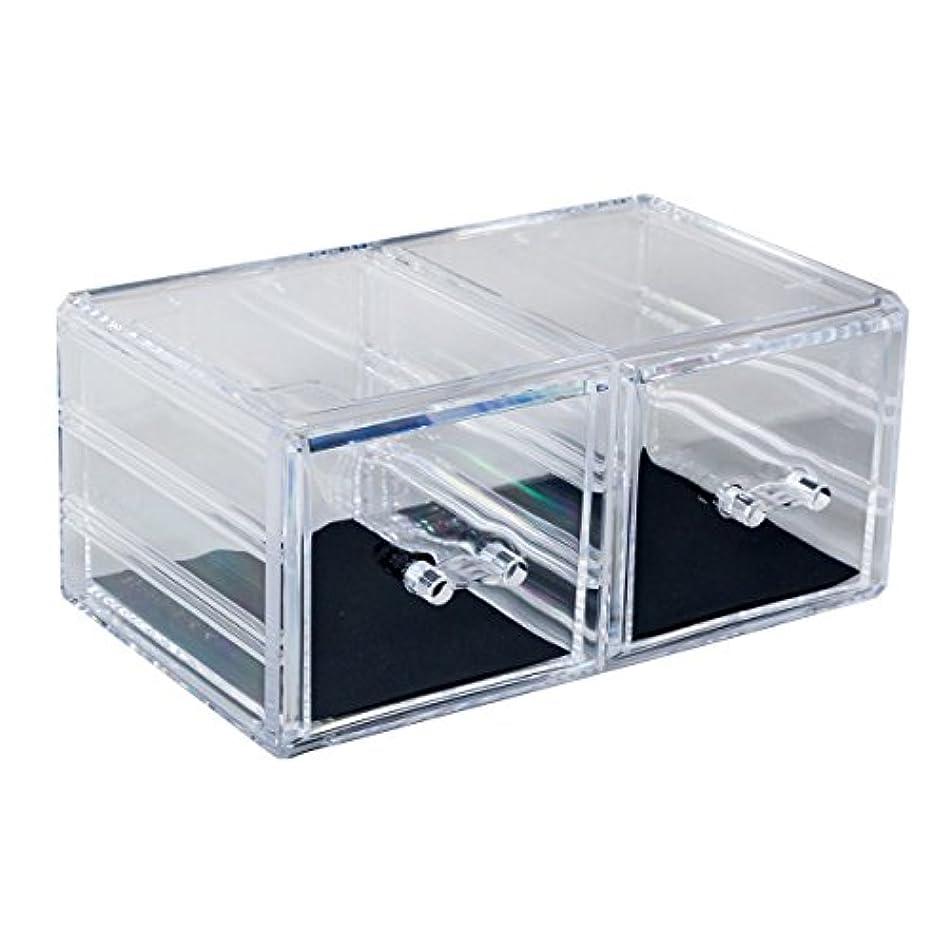 大使肺炎動物園アクリルケース 収納ケース 深型引き出し×2 コスメボックス Mサイズ 小物 化粧品 展示_87250