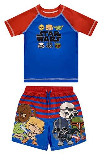 Star Wars Yoda C-3PO Chewbacca Darth Vader Stormtrooper Toddler Boys Rash Guard Swim Trunks Set Red/Blue 3T