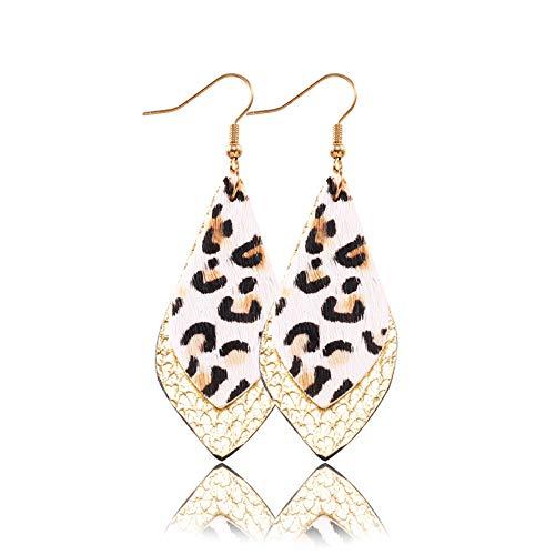 Fliyeong Durable 1 Pair Leopard Earrings Women Feather Leaf Earrings PU Leather Dangle Multicolor Drop Dangle Earring,Gold