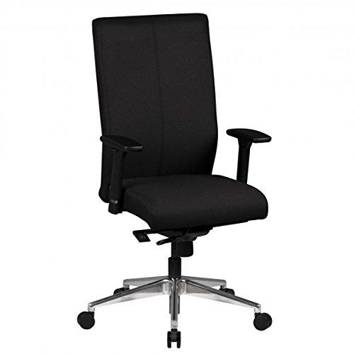 FineBuy Design Chaise Bureau Tissu Chaise exécutif rembourré Chaise tournante | Chaise de pivotant avec accoudoirs - 120 kg capacité de Charge - Noir - réglable en Hauteur - Dossier Ergonomique