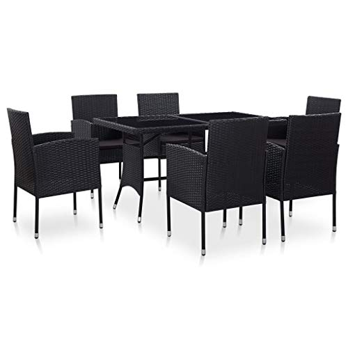 Lechnical 7 piezas Conjunto de comedor de jardín de poli ratán conjunto de muebles grupo de comedor de jardín conjunto de muebles de balcón de salón de poli ratán resistente a la intemperie negro