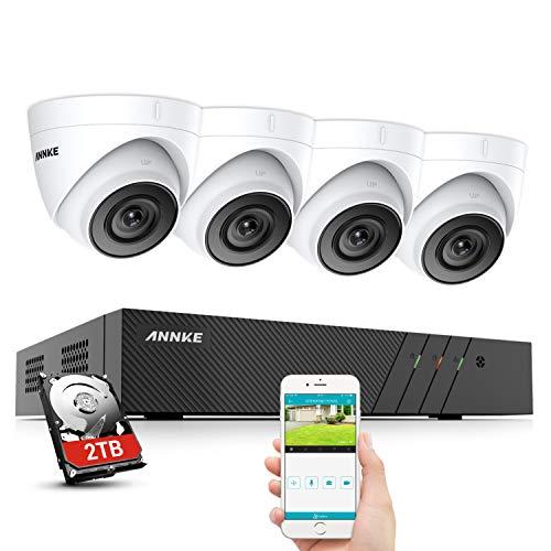 ANNKE H500 5MP POE Überwachungskamera Set, 6MP 8CH NVR+ 4X 5MP IP67 Wasserdicht Dome Kamera mit EXIR Nachtsicht, H.265 + Videoaufzeichnung bis zu 80 Tage mit 2TB Festplatte,Bewegungserkennung