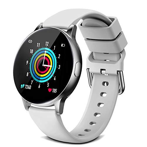 Smartwatch da uomo e donna, con cardiofrequenzimetro, monitoraggio del sonno, contapassi, contacalorie, cronometro, per Android iOS (argento)