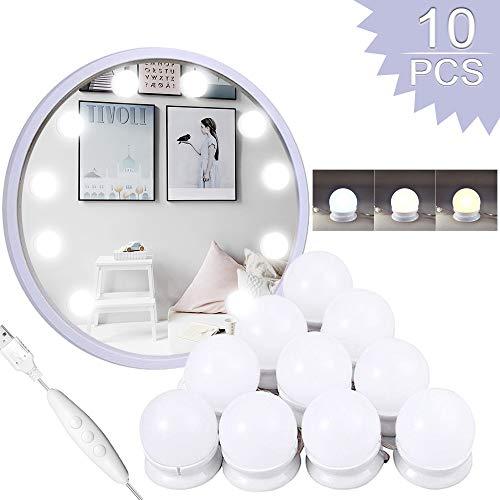 Schminktisch Beleuchtung,Led Spiegelleuchte,10 LED-Lampen 3 Licht Modus mit Dimmfunktion, Für Kosmetikspiegel, Badzimmer Spiegel,Schminktisch[Energieklasse A+++]