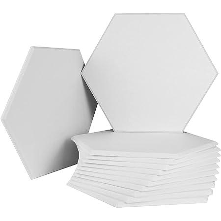 Paneles acústicos | Paquete de 12 paneles hexagonales biselados a prueba de sonido para pared | Paneles de pared de alta densidad insonorizada de 35,5 x 33,8 x 0,4 pulgadas | Tratamiento acústico para estudio y hogar y oficina (blanco)