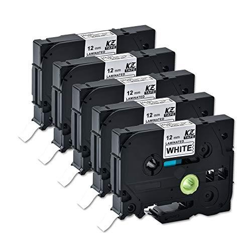 Compatible for Brother Tze231 0.47 Inch 26.2feet (12mm/8m) p Touch Laminated Black on White Standard Replace Waterproof Label Tape maker PT-H110/PT-D200/PT-D210/PT-D400/PT-D600/PT-1280/PT-1290(5PACK)