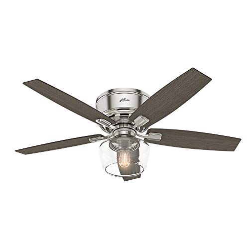 "Hunter Bennett Indoor Low Profile Ceiling Fan with LED Light and Remote Control, 52"", Brushed Nickel"