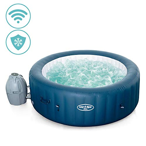 Lay-Z-Spa Milan Wi-Fi Controlled Hot Tub, AirJet Plus Year Round Smart Spa with Freeze Shield, Works with Alexa and Google Assistant, Blue