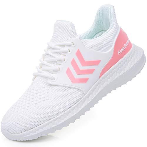AUPERF Women's Memory Foam Running Shoes Slip On Tennis Sneakers Lightweight Gym Jogging Sports Athletic Walking Shoes WhitePink US 8.0