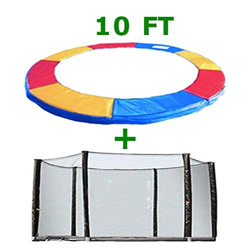 Greenbay Trampoline Replacement Safety Spring Cover Padding Pad + Safety Net Enclosure Surround Outside Netting 10 FT Foot Tri-Colour for 6 poles Trampoline