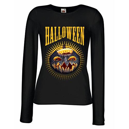 lepni.me Weibliche Langen Ärmeln T-Shirt Halloween Kürbis - Party Kostüm Ideen 2018 (XX-Large Schwarz Mehrfarben)