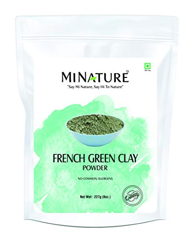 French Green Clay powder by mi nature | 227g( 8 oz) ( 0.5 lb) | Montmorillonite Clay | Facial Care | Skin care
