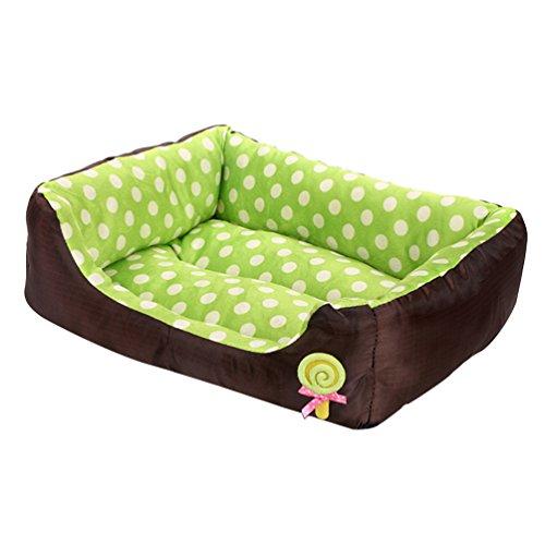 LvRao Waschbar Haustierbett für Hund, Katze & Haustier Rechteck Welpen Kissen Sofa Körbe Hundebett (Grün, L: 68 * 55 * 16CM)