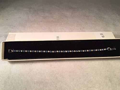 ROA - Pulsera de Plata con Diamantes de imitación Azules y Transparentes, 17,78 cm de Largo