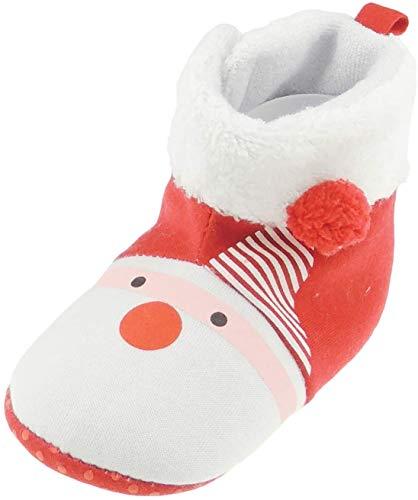 Glamour Girlz Lindos botines de Navidad rojos y blancos para niños y niñas de Papá Noel con nariz roja (12-15 meses)