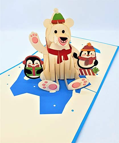 BC Worldwide Ltd Tarjeta de Navidad emergente 3D hecha a mano Feliz Navidad Oso polar Pingüino Hielo origami vintage saludos regalos adornos decoraciones