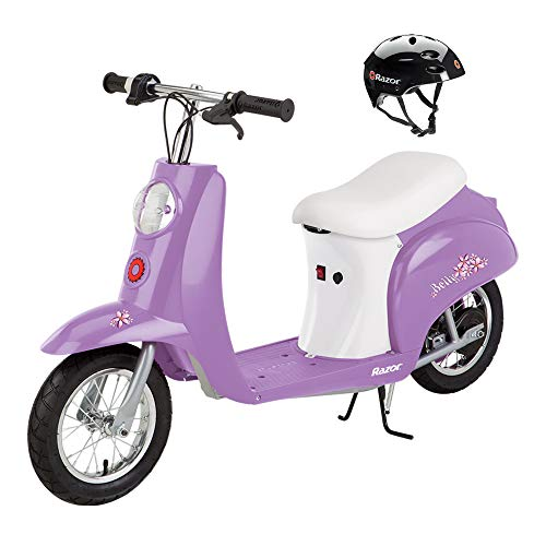 Razor Miniature Euro 24V Electric Kids Ride On Retro Scooter & Helmet, Purple