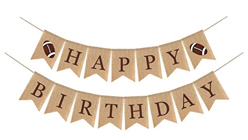 Rustic Football Happy Birthday Burlap Banner for Kids Boys Girls Adult| NFL Superbowl Sports Party Decorations Flag | First 1st 2nd 3rd 4th 30th 40th 50th 60th Dad Football Birthday Backdrop | Eagles Party Supplies and Favors | Pre-Strung No Need DIY