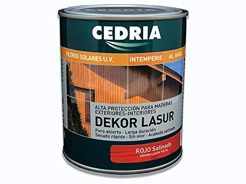 Lasur protector madera exterior al agua Cedria Dekor Lasur 750 ml (Rojo)