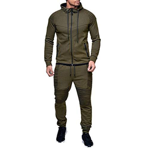 Completo da Allenamento da Competizione per Club, Completo di Maglie A Maniche Lunghe Felpa con Cappuccio Invernale Top Pantaloni Imposta Tuta Sportiva Tuta (XL,Army Green)