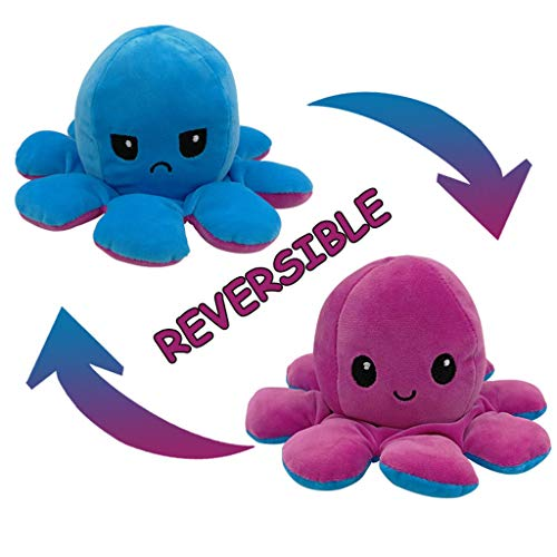XXYsm Oktopus Kuscheltier, Doppelseitige Reversible Octopus Puppe, Octopus Plüschtier, Oktopus Kuscheltier Zum Wenden, Kreative Stofftier Spielzeuggeschenke für Kinder, Familie, Freunde