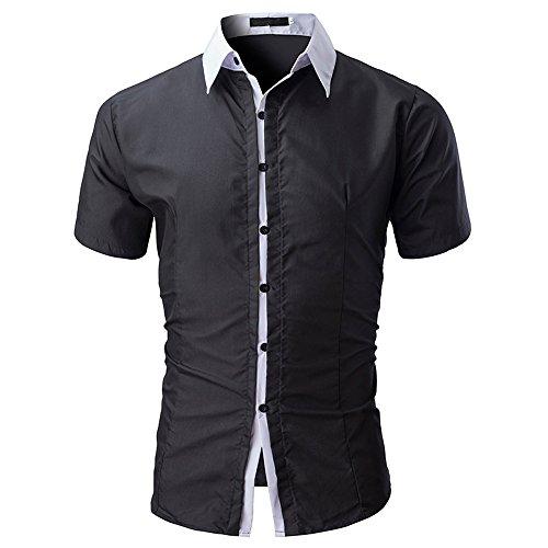 Stoota 2019 Newest Men Shirt Fashion Solid Color Male Casual Short Sleeve Shirt BK/2XL Black