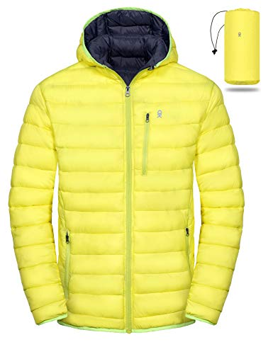 Little Donkey Andy Men's Packable Lightweight Puffer Jacket Hooded Windproof Winter Coat with Recycled Insulation Yellow XXL