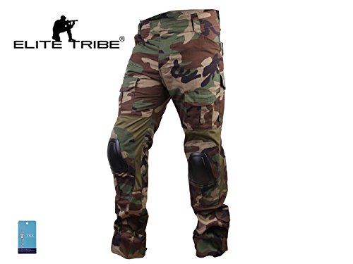Paintball Equipment Men Airsoft Hunting Combat BDU Pants Gen3 Tactical Pants with Knee Pad Woodland XL36
