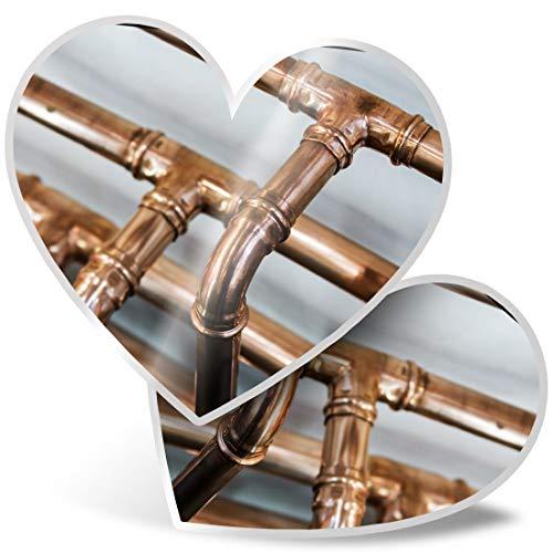 Impresionante 2 pegatinas de corazón de 7,5 cm – tubos de cobre para calefacción de fontanero calcomanías divertidas para portátiles, tabletas, equipaje, libros de chatarra, neveras, regalo genial #21393