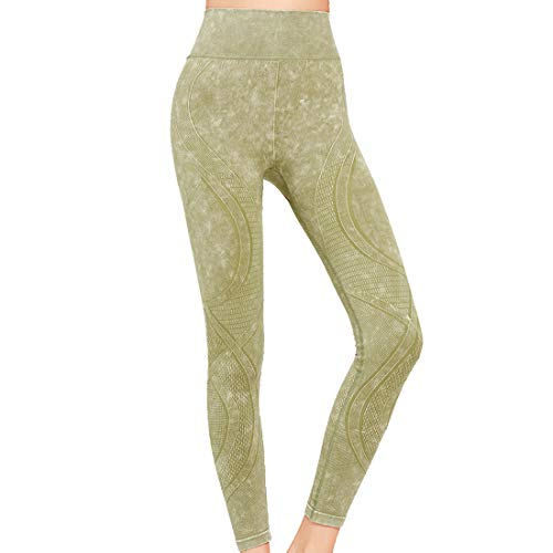 Yogahose Damen High Waist Drucken Tummy Control Leggings Capri Lässige Yoga Running Sport Fitness Leggins Slim Fit Sporthose Sommer Workout Laufen Power Flex Jogginghose Streetwear C-Green L