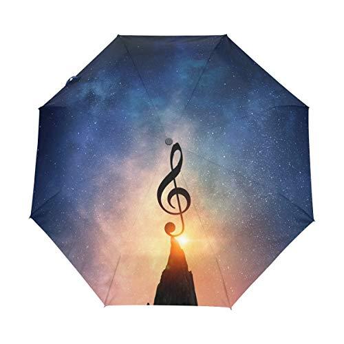 Paraplu zakparaplu volledig automatische 8 ribs paraplu winddicht compact licht stabiel scherm op-op-op-automatische transportkabel reisscherm | Music Note Sunset Blue Galaxy Space
