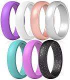 ThunderFit Silicone Rings, 7 Pack Wedding Bands for Women - 5.5 mm Wide (Purple, Pink, Teal, White, Peach, Black with Purple Glitter,...
