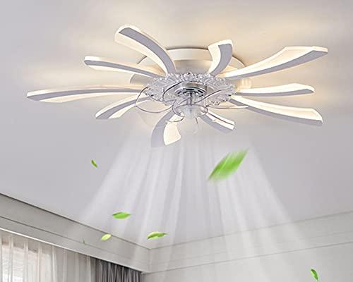 Ventiladores Para el Techo con Lámpara, Luz Del Ventilador Invisible Silenciosa Lámpara de Araña Lámpara para Dormitorios Lámpara Sala Habitación de Niños Comedor Blanco Lámpara de Araña (78cm)