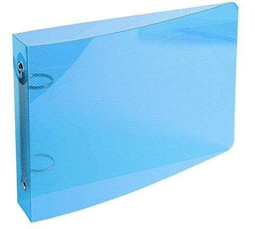 Exacompta - Réf. 51092E - Classeur semi-rigide PP Crystal - 2 anneaux ronds diamètre 25 mm - Dos 35 mm - Dimensions extérieures : 16,5x24cm - Formats à classer 12,50x20cm et 14,8x21cm - Coloris : bleu