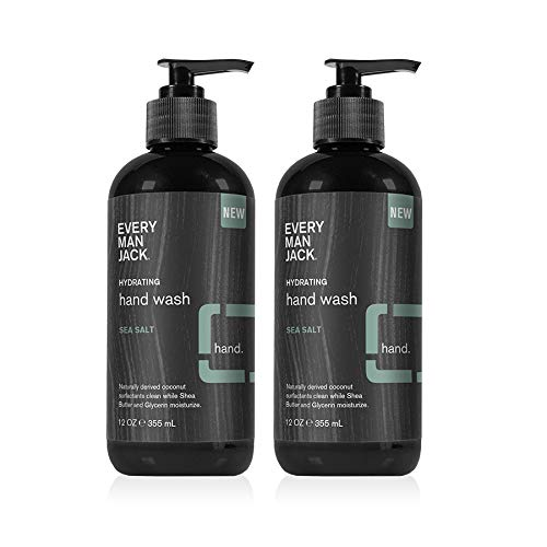 Every Man Jack Hand Wash - Sea Salt |12-ounce Twin Pack - 2 Bottles Included | Naturally Derived, Certified Cruelty Free, Gluten Free ,Vegan