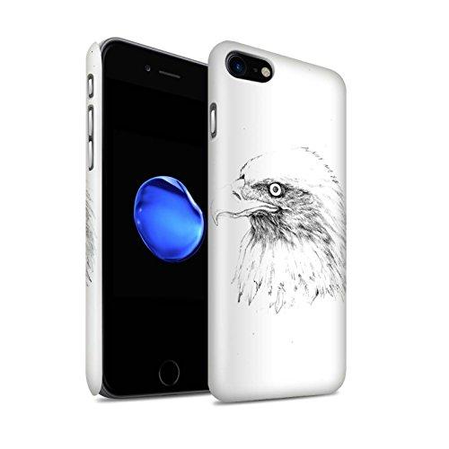 Gloss telefoonhoesje voor Apple iPhone SE 2020 schets tekenen Eagle/vogel ontwerp glanzend Ultra slank dun harde snapcover
