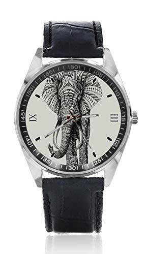 Tribal Elefant Muster Herren Ledergürtel Uhr Einfache Klassische Sportuhr für Herren Schlichtes Design und Mode