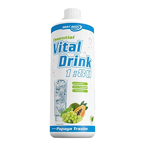 Best Body Nutrition - Essential Vital Drink, 1:80, Papaya Traube, 1:80, 1000 ml Flasche