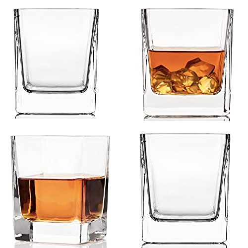 Rocks Glasses Set Square Whiskey Glass of 4 (10 Oz) - Old Fashioned Crystal for Alcohol, Whisky, Bourbon, Tequila, Scotch, Liquor, Rum, Gift for Men, Women by Kemstood, Thick Weighted Bottom Cocktail