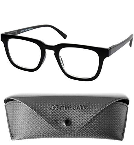 Lesebrille Dicker Rahmen Rechteckig, GRATIS Brillenetui, Kunststoff Brillengestell (Schwarz), Lesehilfe Herren und Damen +1.5 Dioptrien